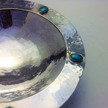 Hand raised silver turquoise bowl